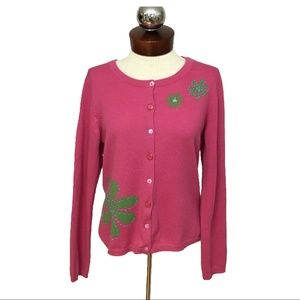 GARNET HILL wool cardigan sweater embellished M
